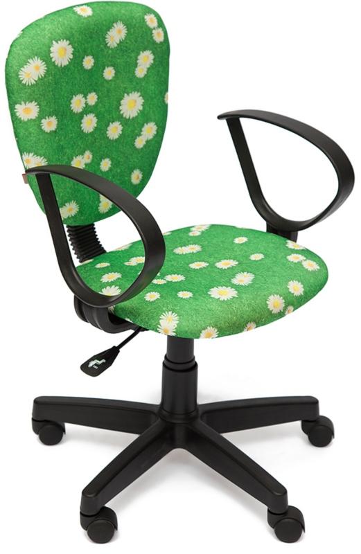 Кресло СН413 ткань Ромашки на зеленом