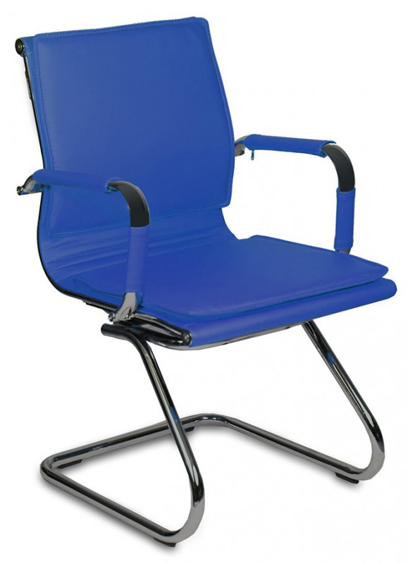Кресло посетителя CH-993-Low-V синяя иск. кожа