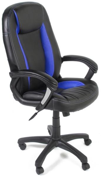 Кресло руководителя BRINDISI ST эко черная, вставки синие