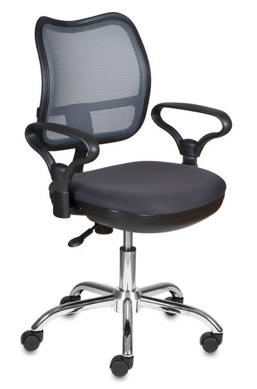 Кресло офисное CH-799SL серая сетка и сиденье, хром
