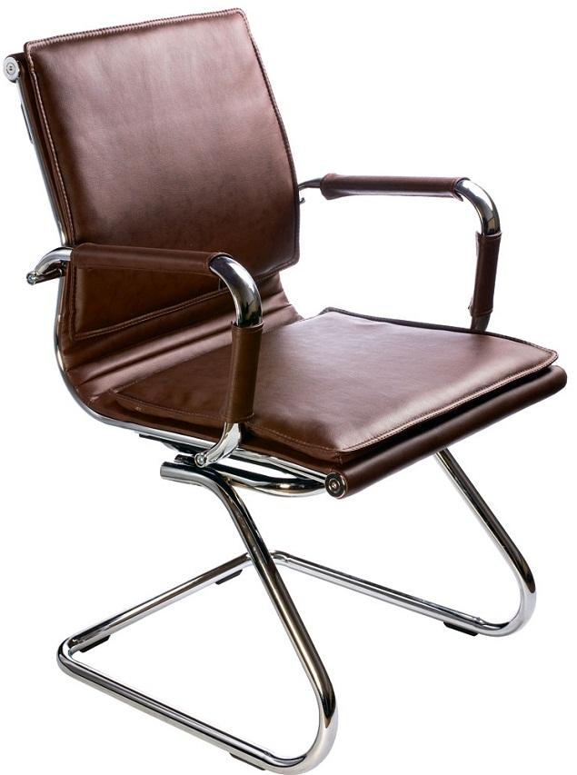 Кресло посетителя CH-993-Low-V коричневая иск. кожа
