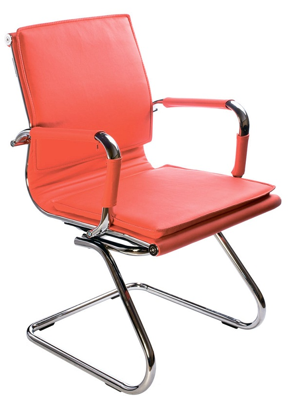 Кресло посетителя CH-993-Low-V красная иск. кожа
