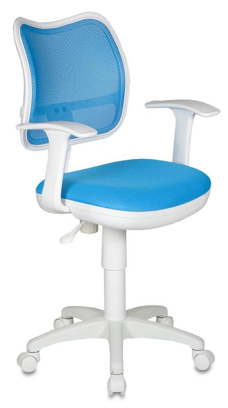 Кресло офисное CH-W797 белый пластик, голубая сетка и ткань