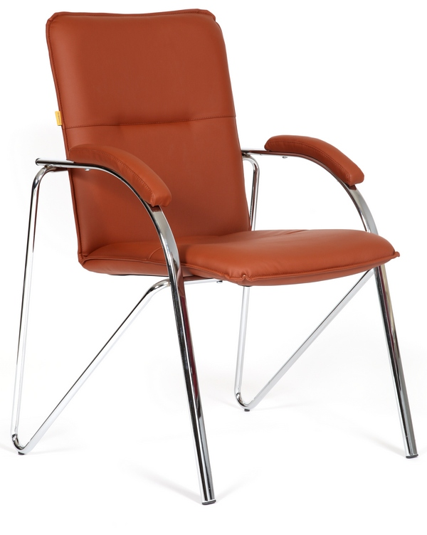 Кресло посетителя CH-850 экокожа коричневая, Chairman 850