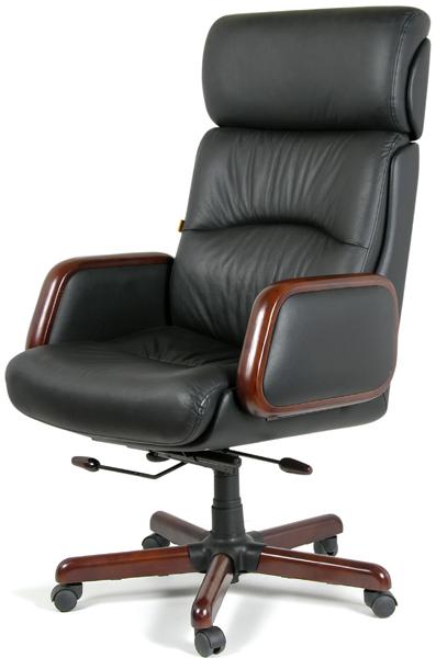 Кресло руководителя CH-417 кожа черная, Chairman 417