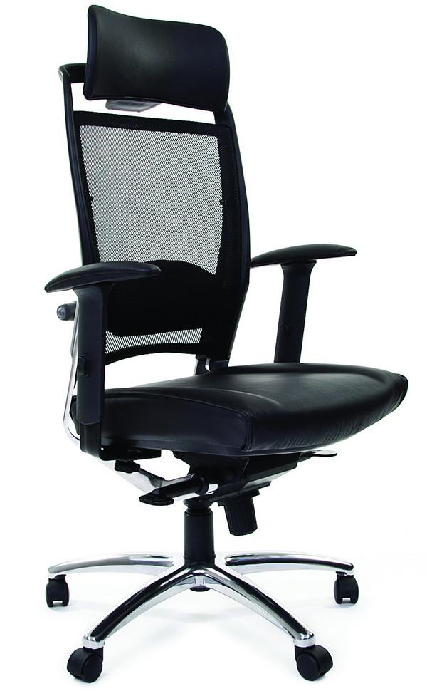 Кресло руководителя CHAIRMAN Ergo 281A chrome кожа черная
