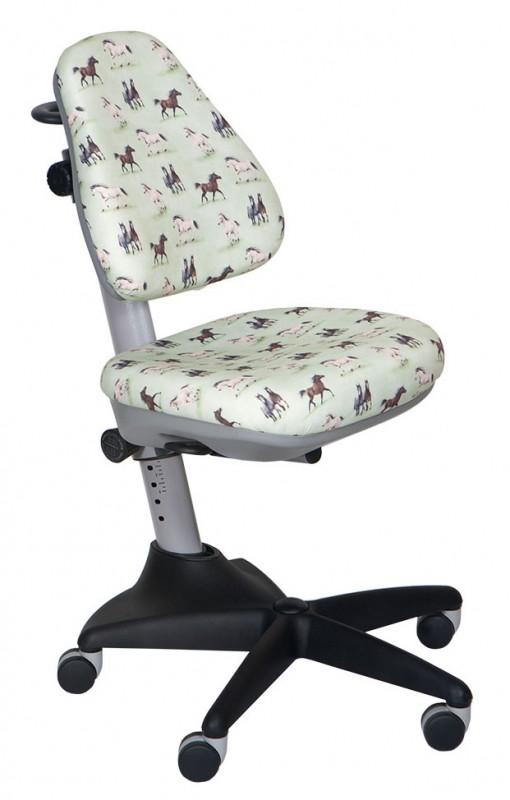 Кресло детское KD-2 ткань лошади на зеленом фоне