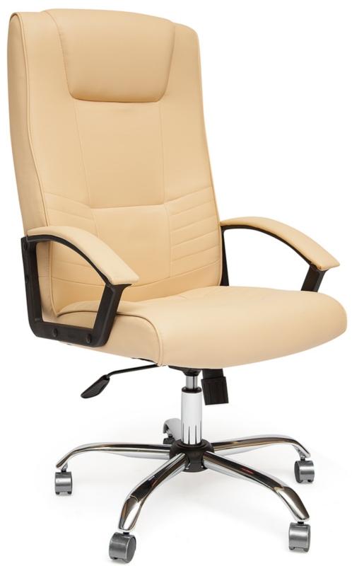 Кресло руководителя MAXIMA Chrome кожа бежевая хром