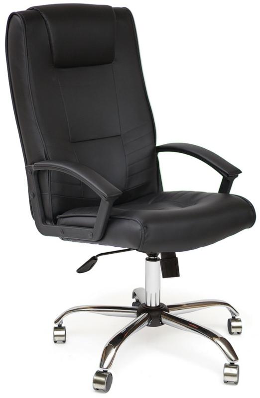 Кресло руководителя MAXIMA Chrome кожа черная хром