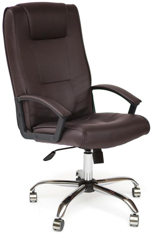 Кресло руководителя MAXIMA Chrome экокожа коричневая хром