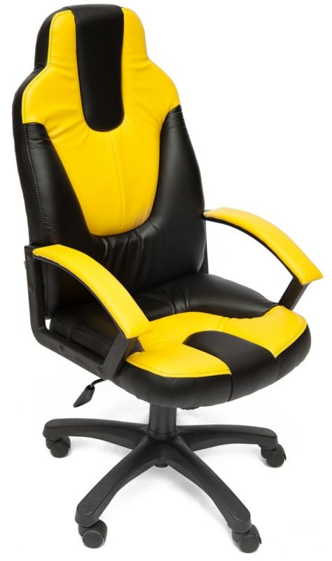Кресло руководителя NEO2 Нео2 экокожа черная, вставки желтые