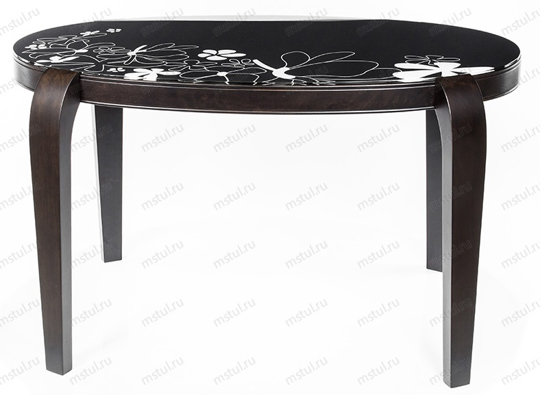 Стол обеденный овальный со стеклом