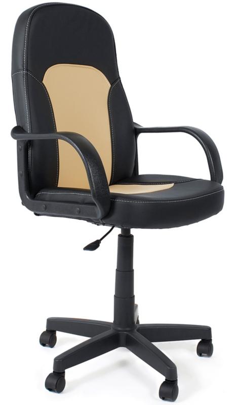 Кресло руководителя PARMA Парма черная экокожа, вставка беж