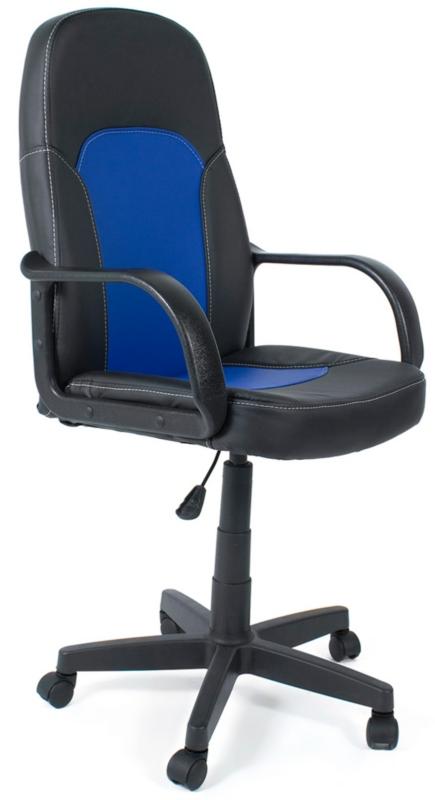 Кресло руководителя PARMA Парма черная экокожа, вставка син