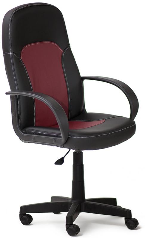 Кресло руководителя PARMA Парма экокожа черная, вставка бордо