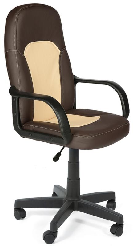 Кресло руководителя PARMA Парма коричневая экокожа, вставка беж