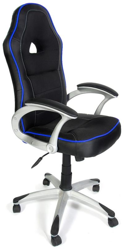 Кресло руководителя PILOT Пилот эко+ткань чарная,кант-синий