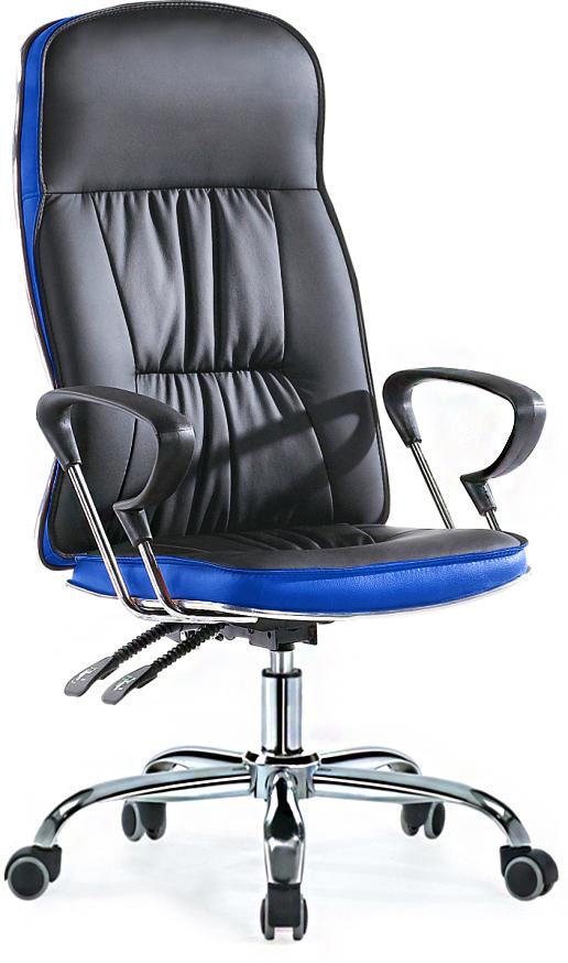 Кресло руководителя SB-A500 экокожа черный+синий