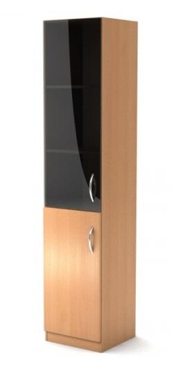 Шкаф узкий со стеклом Simple Симпл легно светлый