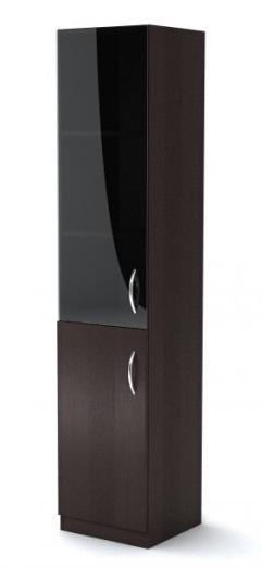 Шкаф узкий со стеклом Simple Симпл легно темный