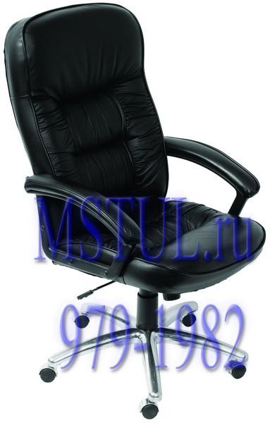Кресло руководителя T-9908AXSN-AB кожа черная алюминиевая основа