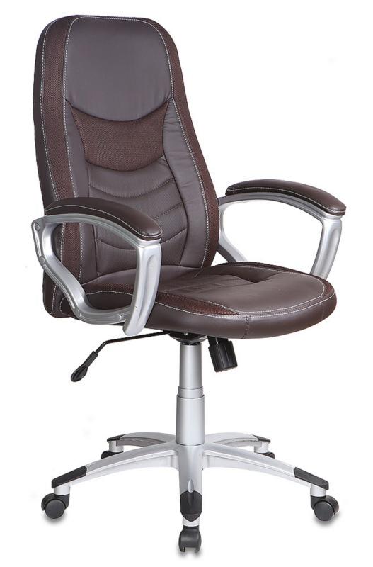 Кресло руководителя T-9910 коричневая экокожа с вставками