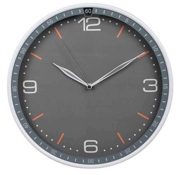Часы настенные R06P, круглые, серые, d30.3 см, плавный ход