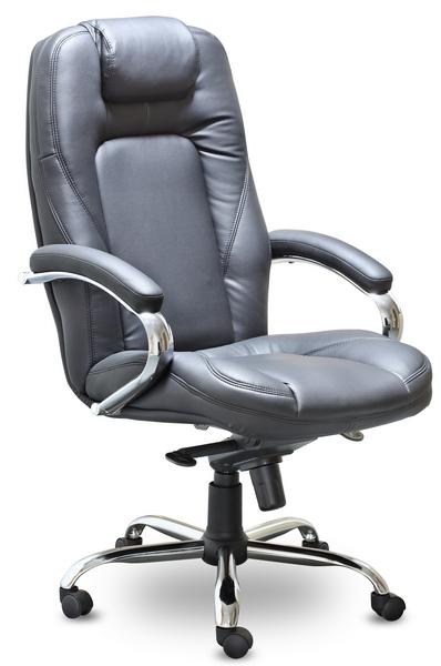 Кресло руководителя CH-400ch Аризона Хром кожа черная