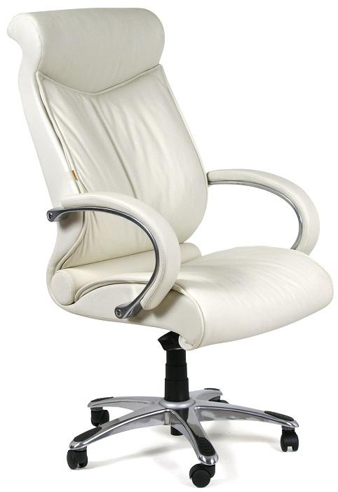 Кресло руководителя CH-420 кожа белая, Chairman 420