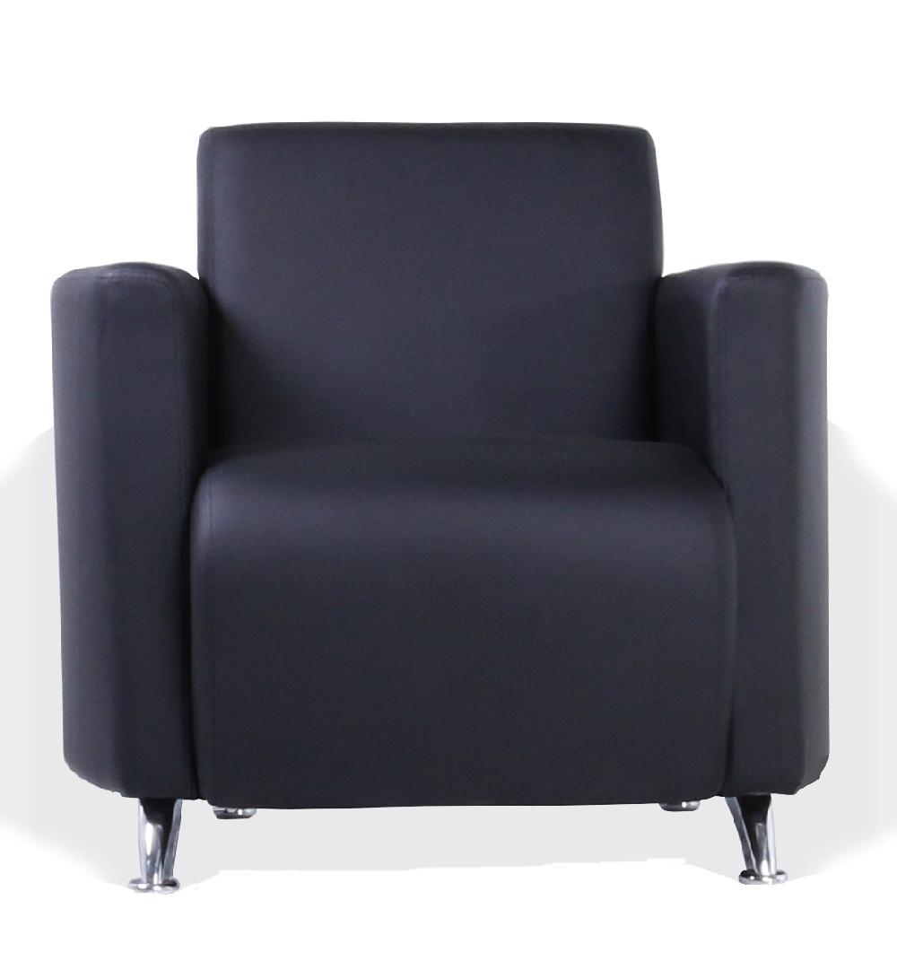 Кресло для отдыха City черная экокожа премиум