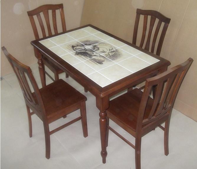 Стол обеденный CT 3045 с плиткой и рисунком Натюрморт темный дуб