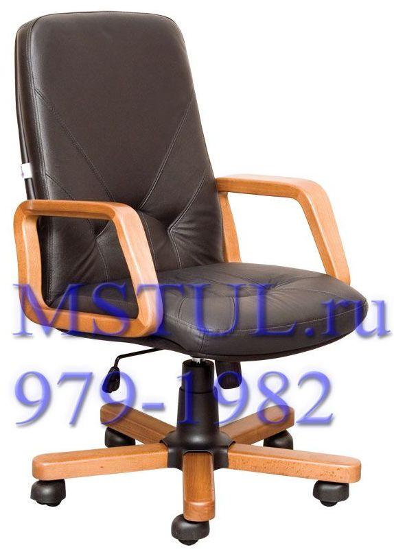 Кресло руководителя KOMO Комо кожа, дерево