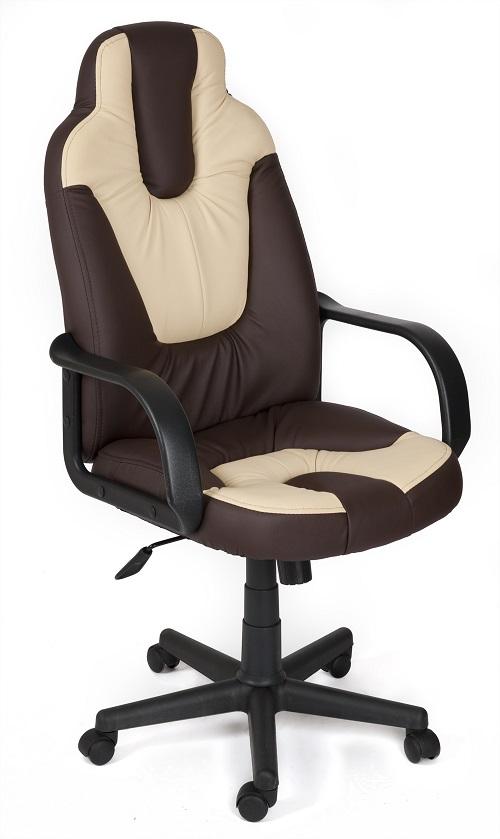 Кресло руководителя NEO1 Нео1 экокожа коричневый, вставки беж