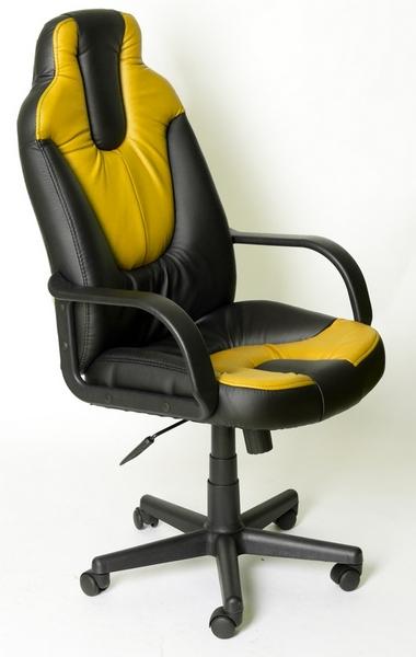 Кресло руководителя NEO1 Нео1 экокожа черная, встаки желтые