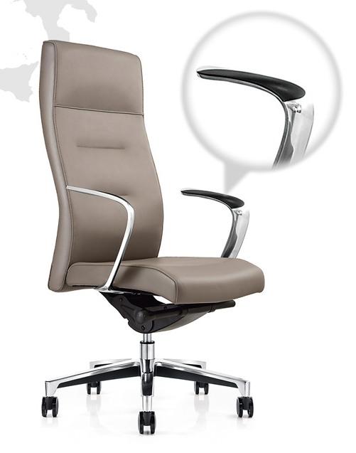 Кресло руководителя One СH-163 кожа серая
