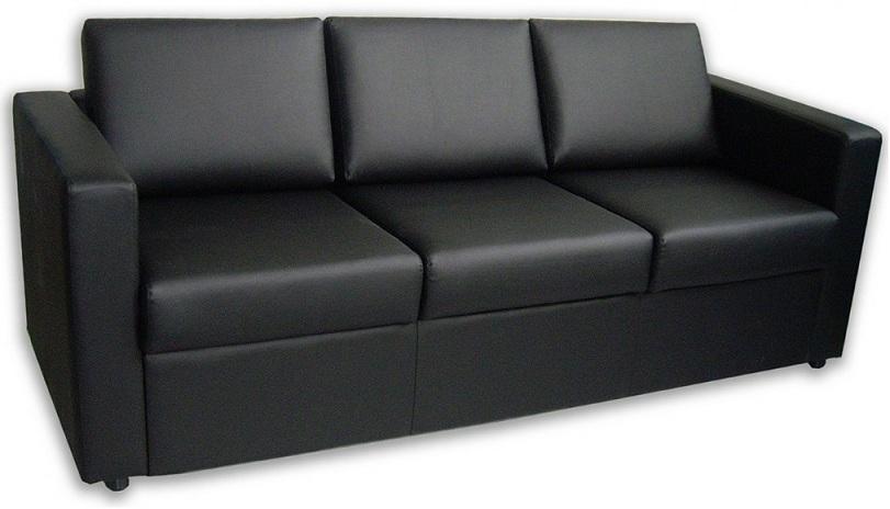Диван офисный Симпл трехместный экокожа черная Терра 118