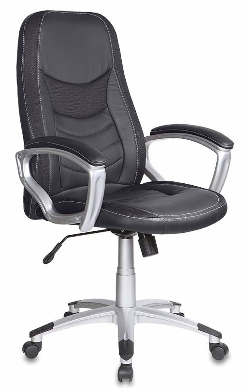 Кресло руководителя T-9910 черная экокожа с вставками