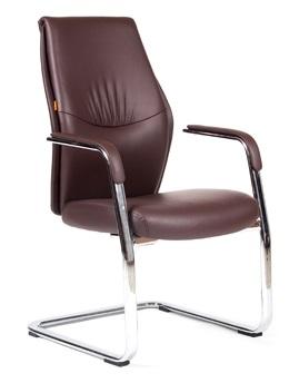 Кресло посетителя CHAIRMAN VISTA_V кожа коричневая на полозьях