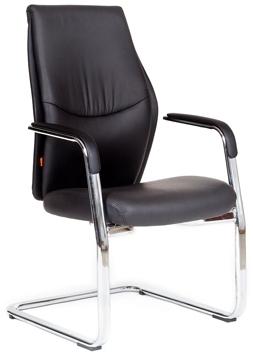 Кресло посетителя CHAIRMAN VISTA_V кожа черная на полозьях