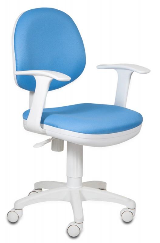 Кресло CH-W356AXSN голубая обивка белый пластик