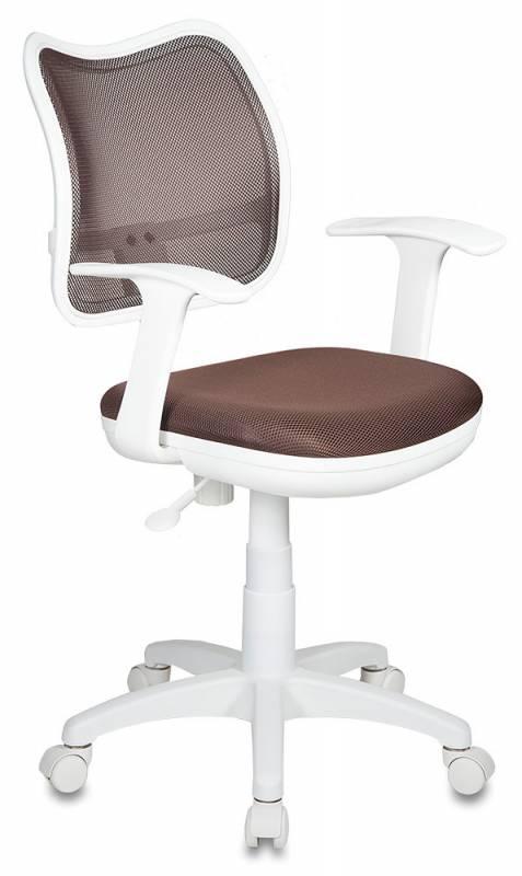 Кресло офисное CH-W797 белый пластик, коричневая сетка и ткань